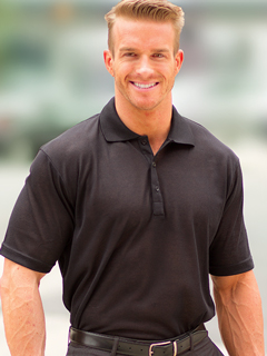Men's Black Tan-Through Polo Shirt #1091 for $44.95