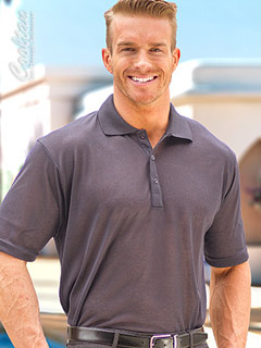 Men's Dark Gray Tan-Through Polo Shirt #1099 for $44.95