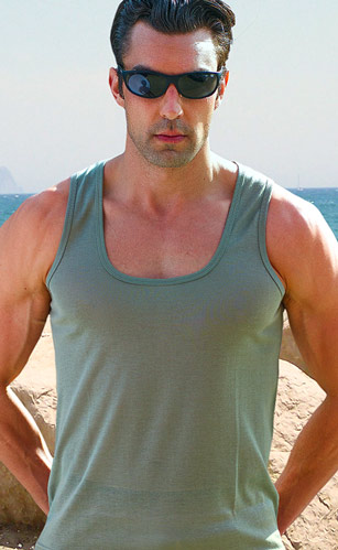 Sage Tan Through Tank Top Shirt