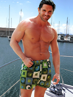 Cooltan Sale Item - Green Chex Swim Trunks