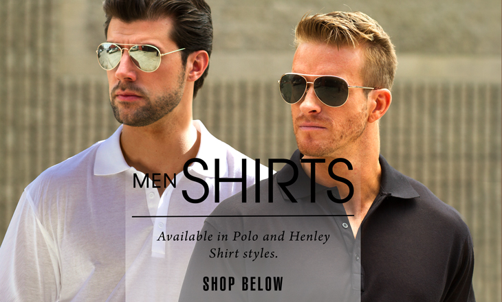Men's Tan Thru Golf Shirts available in Polo and Henley Shirt styles.